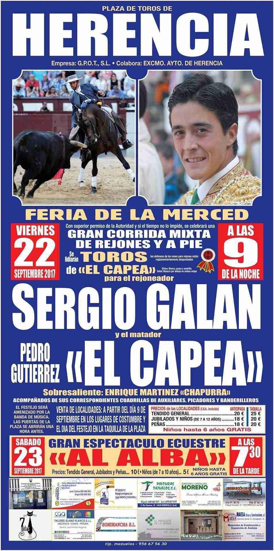 Cartel de la corrida de toros de Herencia (Ciudad Real)