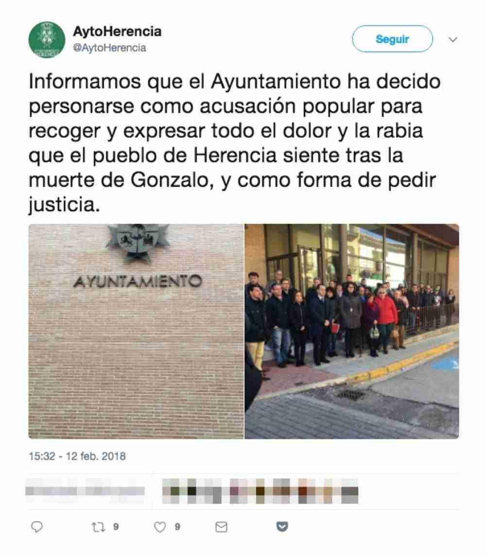 Ayuntamiento de Herencia se personará como acusación popular por la muerte de Gonzalo 3