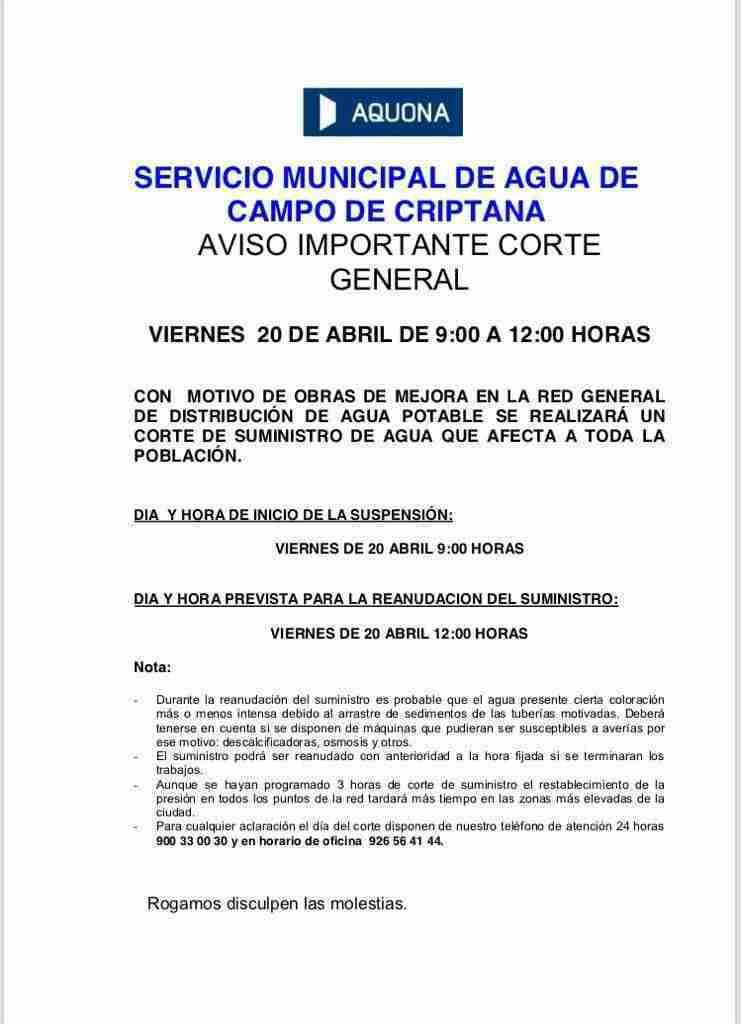 Corte general de agua en Campo de Criptana por obras de mejora 3