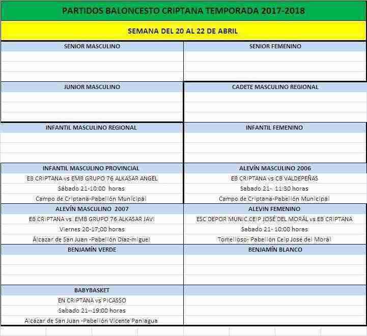 Nueva jornada para el Baloncesto Criptana 20-21 de abril