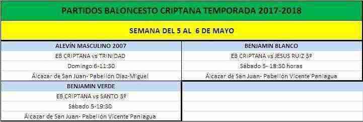 Previa Baloncesto Criptana, durante los días 5 y 6 de mayo