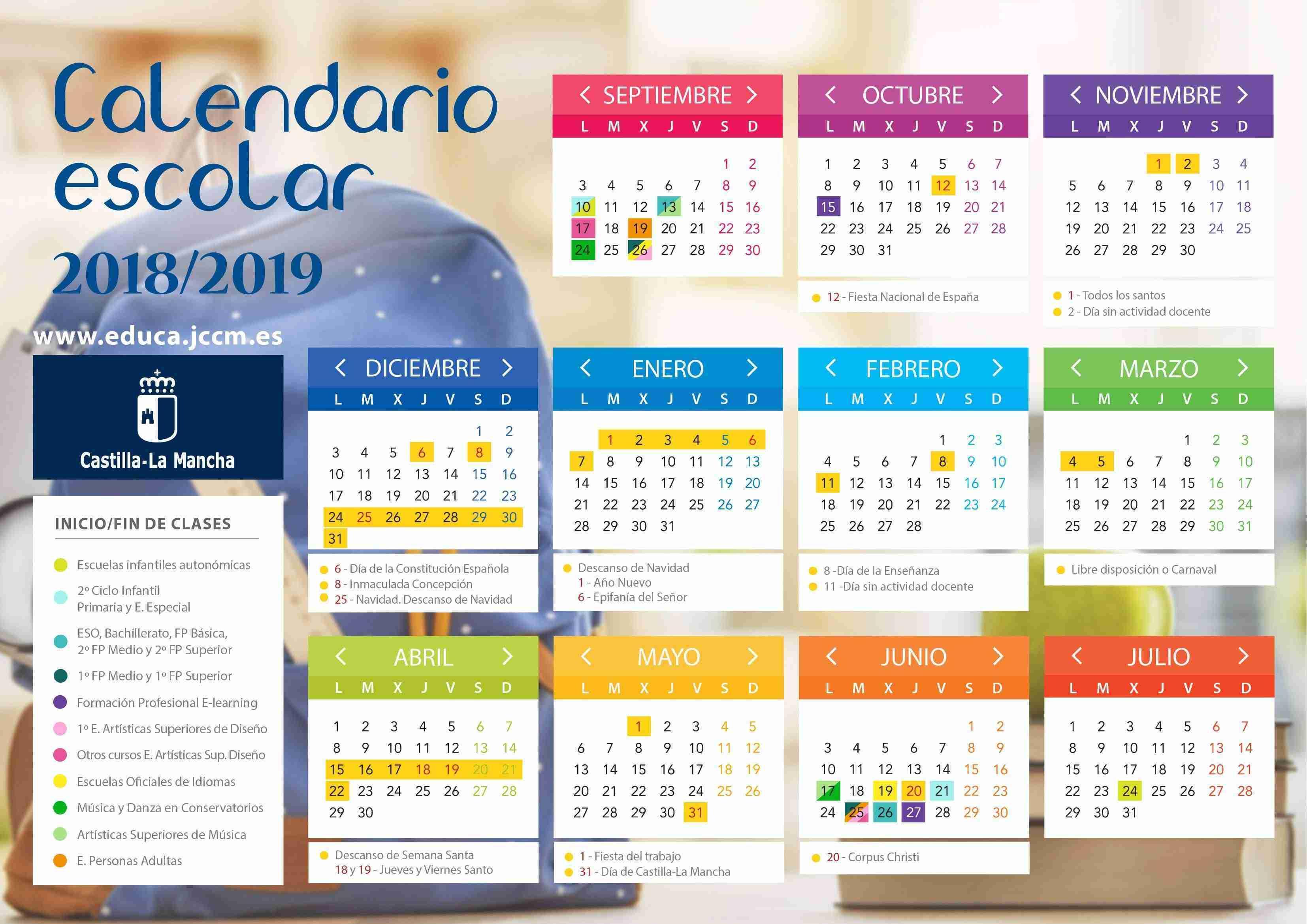 Calendario escolar Castilla La Mancha 2018-2019