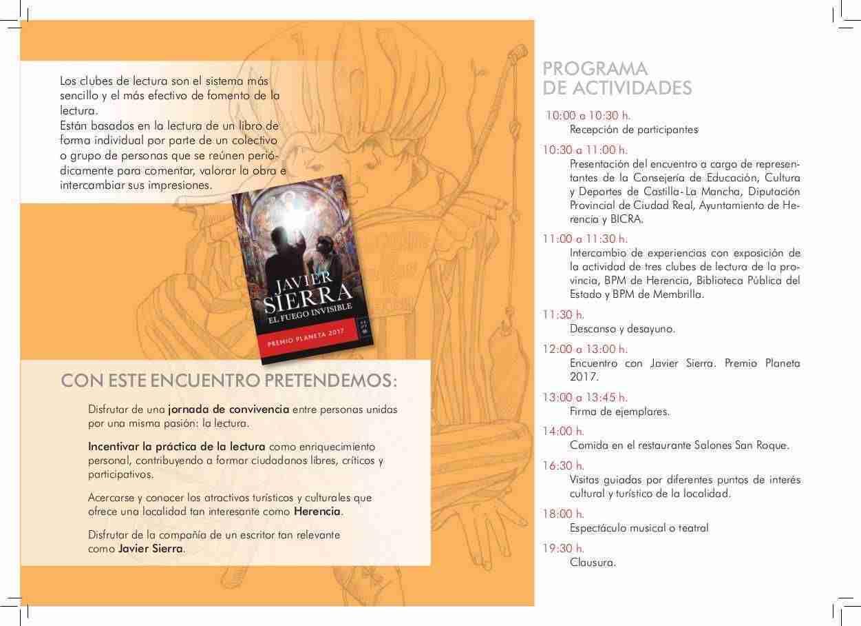 Herencia acogerá el I Encuentro Provincial de Clubes de Lectura con la visita del escritor Javier Sierra 1