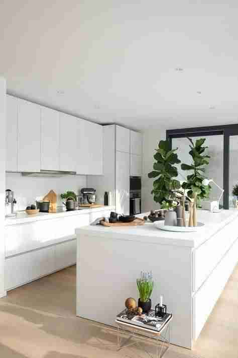 cocinas en blanco y madera VI