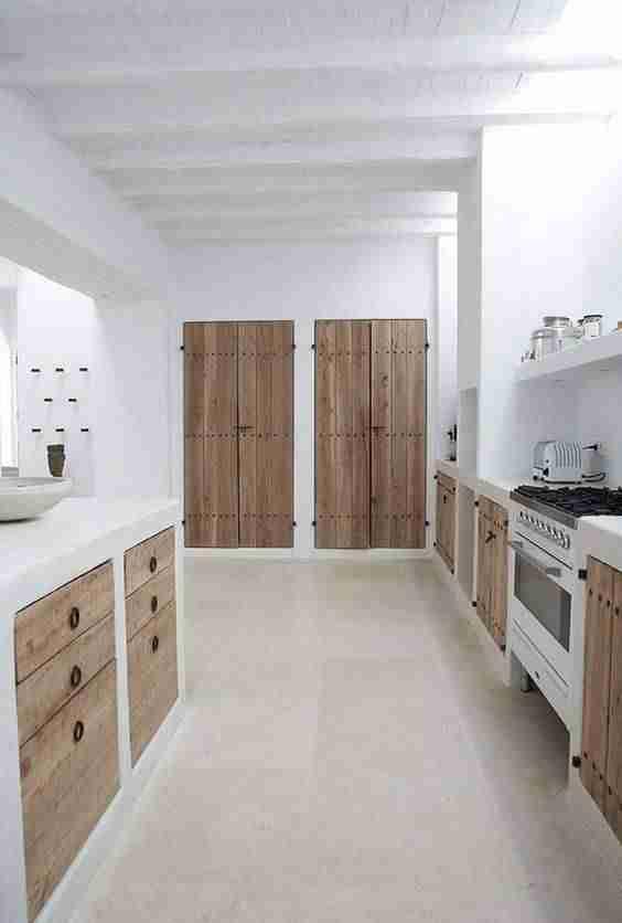 cocinas en blanco y madera XI