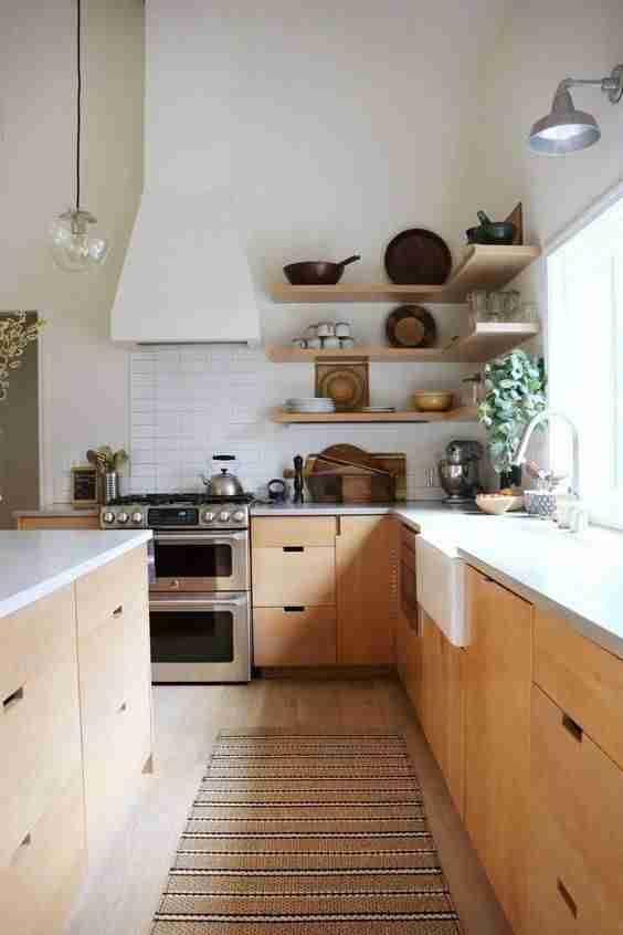 cocinas en blanco y madera IV