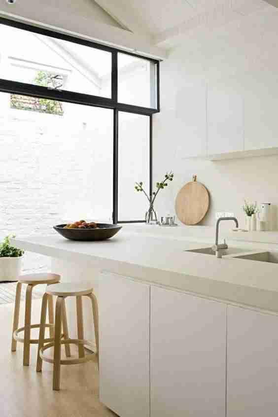 cocinas en blanco y madera VII