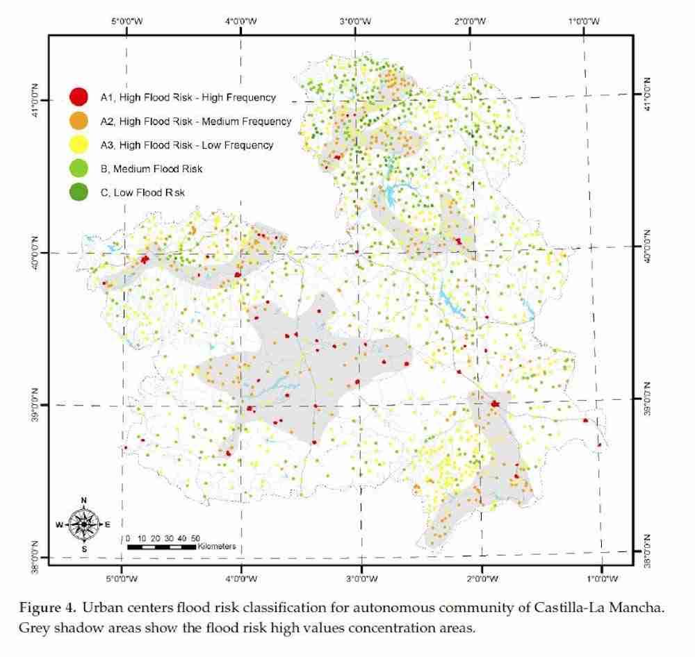 Foto 1.- En la imagen, sombreadas sobre el mapa de Castilla La Mancha las zonas con mayor concentración de riesgo de inundación. Estos resultados han sido objeto de la calibración mediante datos del 112.