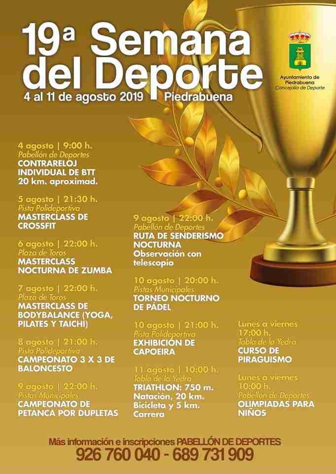 Piedrabuena  invita a su 19ª Semana del Deporte de Piedrabuena del 4 al 11 de agosto 1