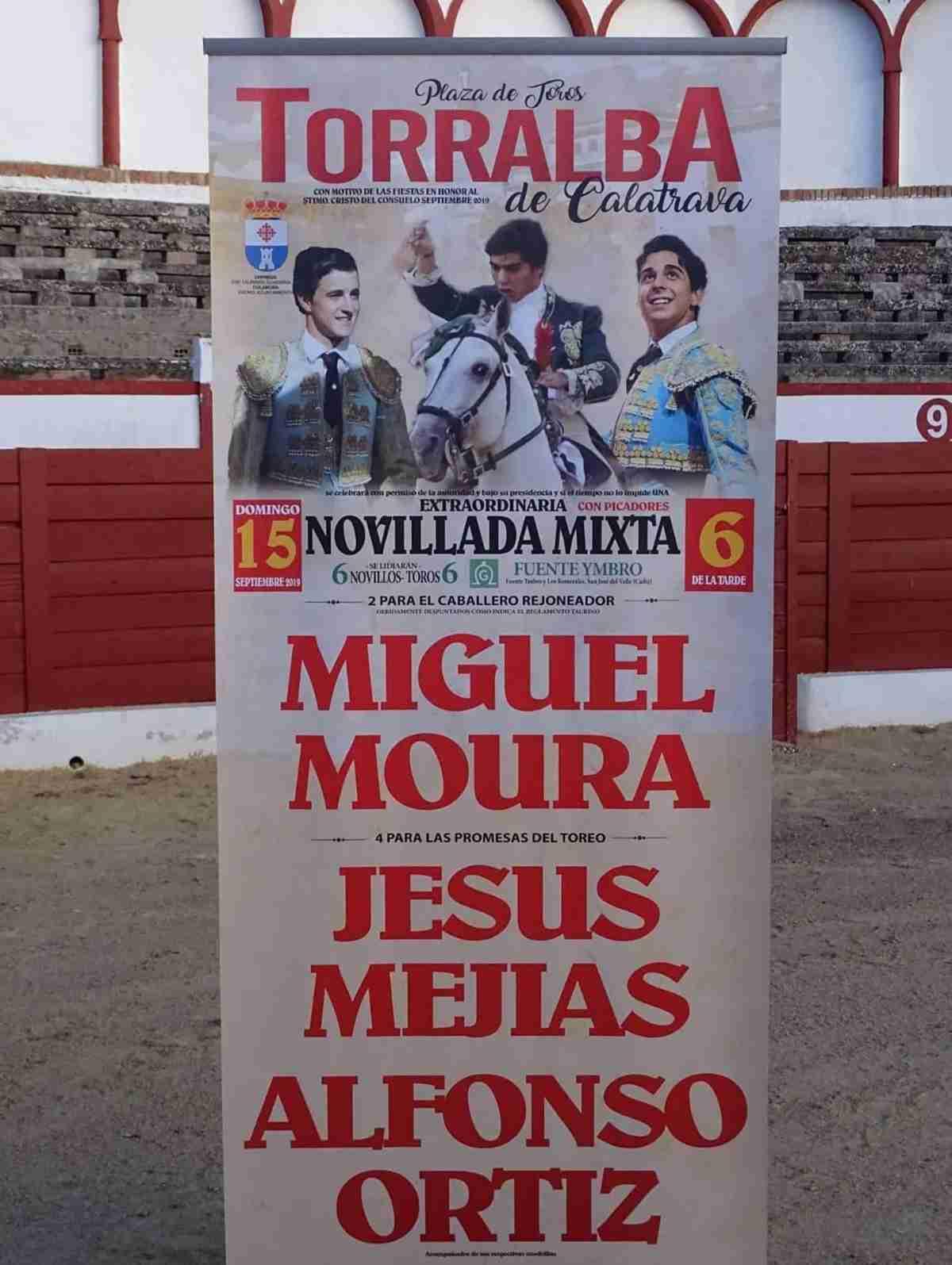 Los novilleros Jesús Mejías y Alfonso Ortiz y el rejoneador Miguel Moura estarán en el cartel taurino de Torralba de Calatrava 2