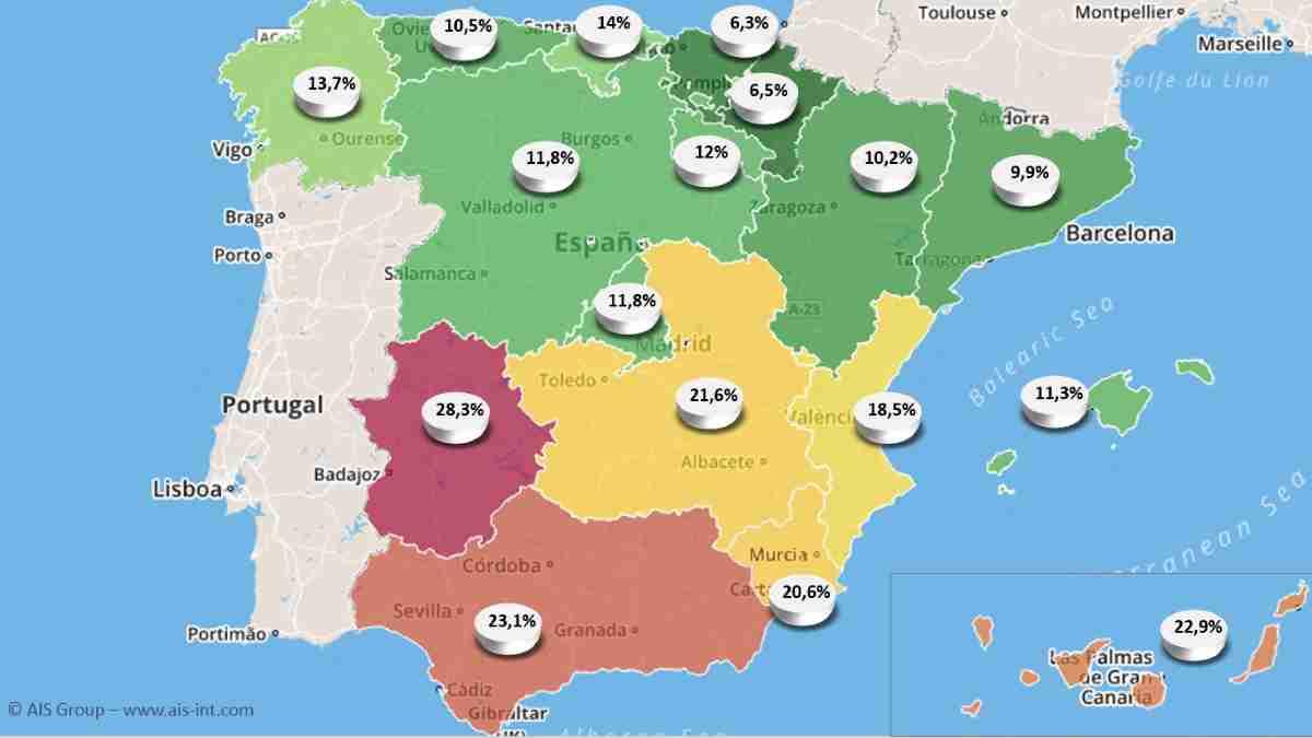 riesgo de pobreza en zonas de espana