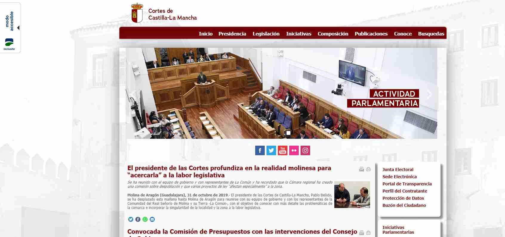 Las Cortes Regionales renuevan el diseño de su web 3