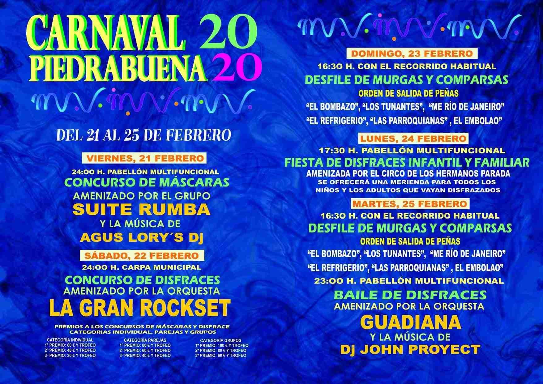 Máscaras callejeras, murgas y comparsas protagonizarán el Carnaval 2020 de Piedrabuena 3