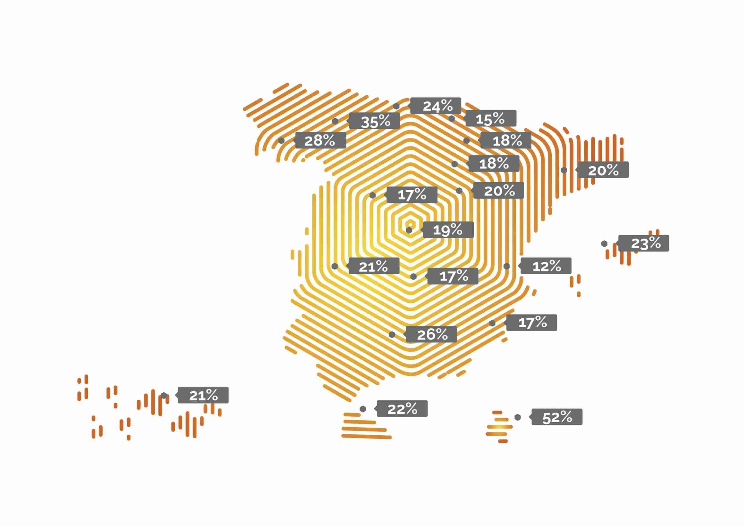 Gráfico 1. El mapa de vehículos rechazados en la ITV. Fuente: Solera a partir de datos de AECA-ITV.