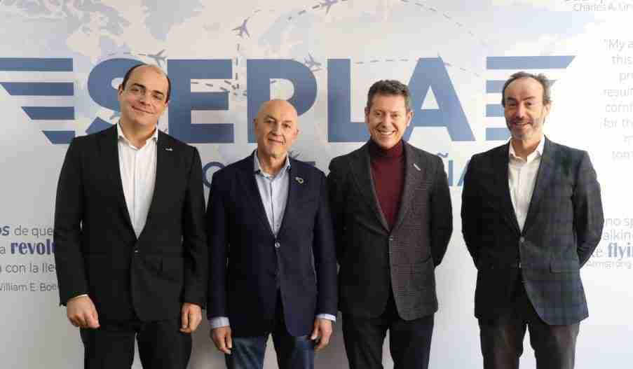 Pedro Grajera, presidente de USCA, Juan Jesús García Fraile, secretario General de SEMAF, Óscar Sanguino, presidente de Sepla y Santiago Ciriza, asesor Jurídico de COMME