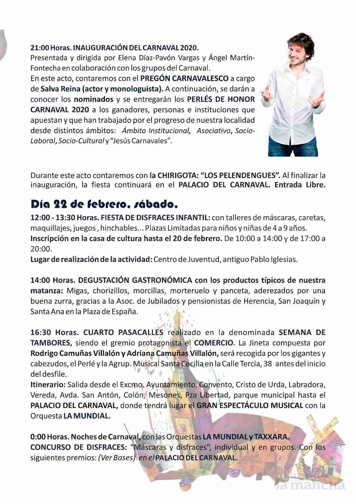 El Carnaval de Herencia contará con el actor Salva Reina como pregonero 6
