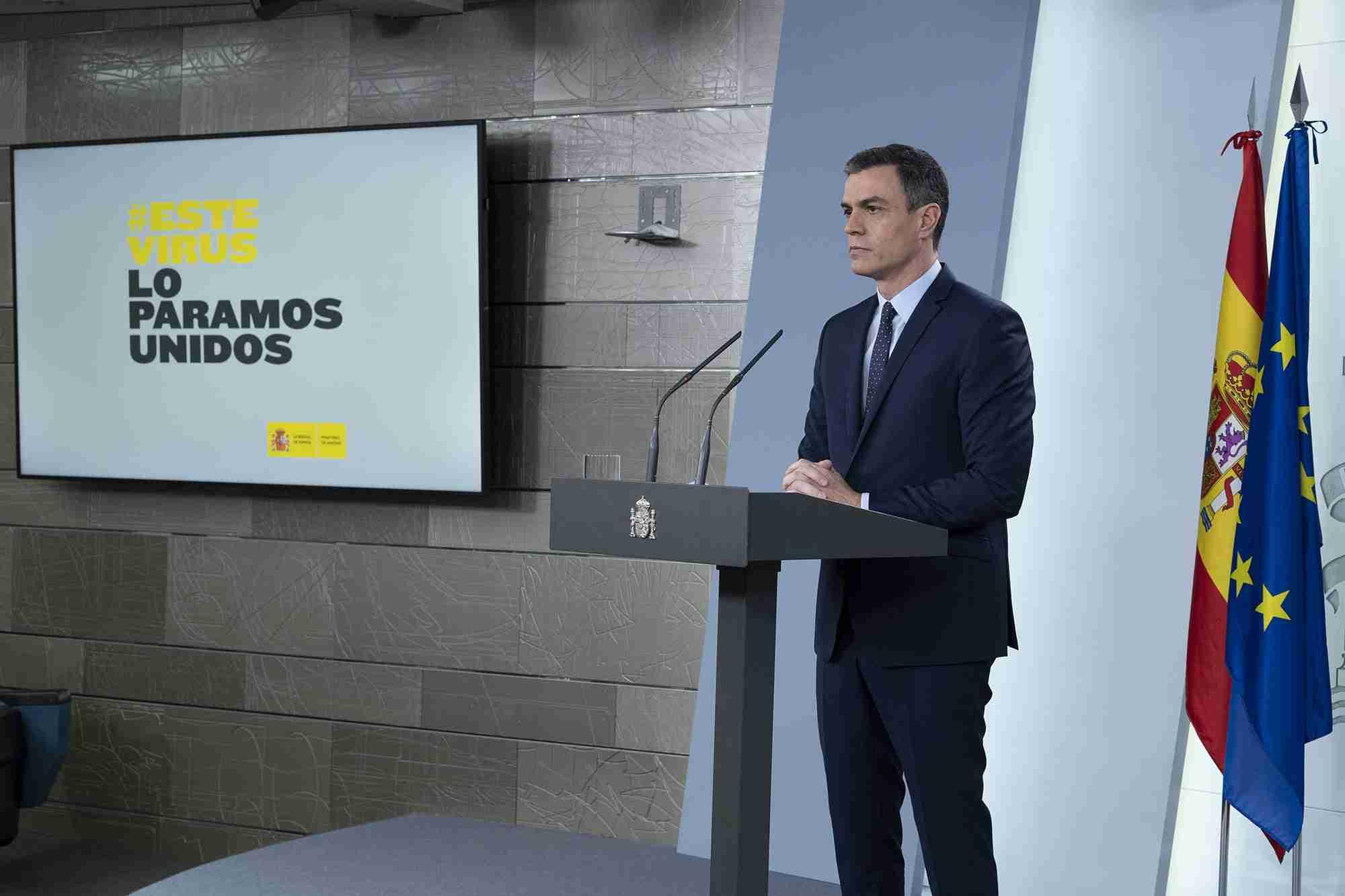 Pedro Sanchez acerca del coronavirus. Pool Moncloa/Borja Puig de la Bellacasa