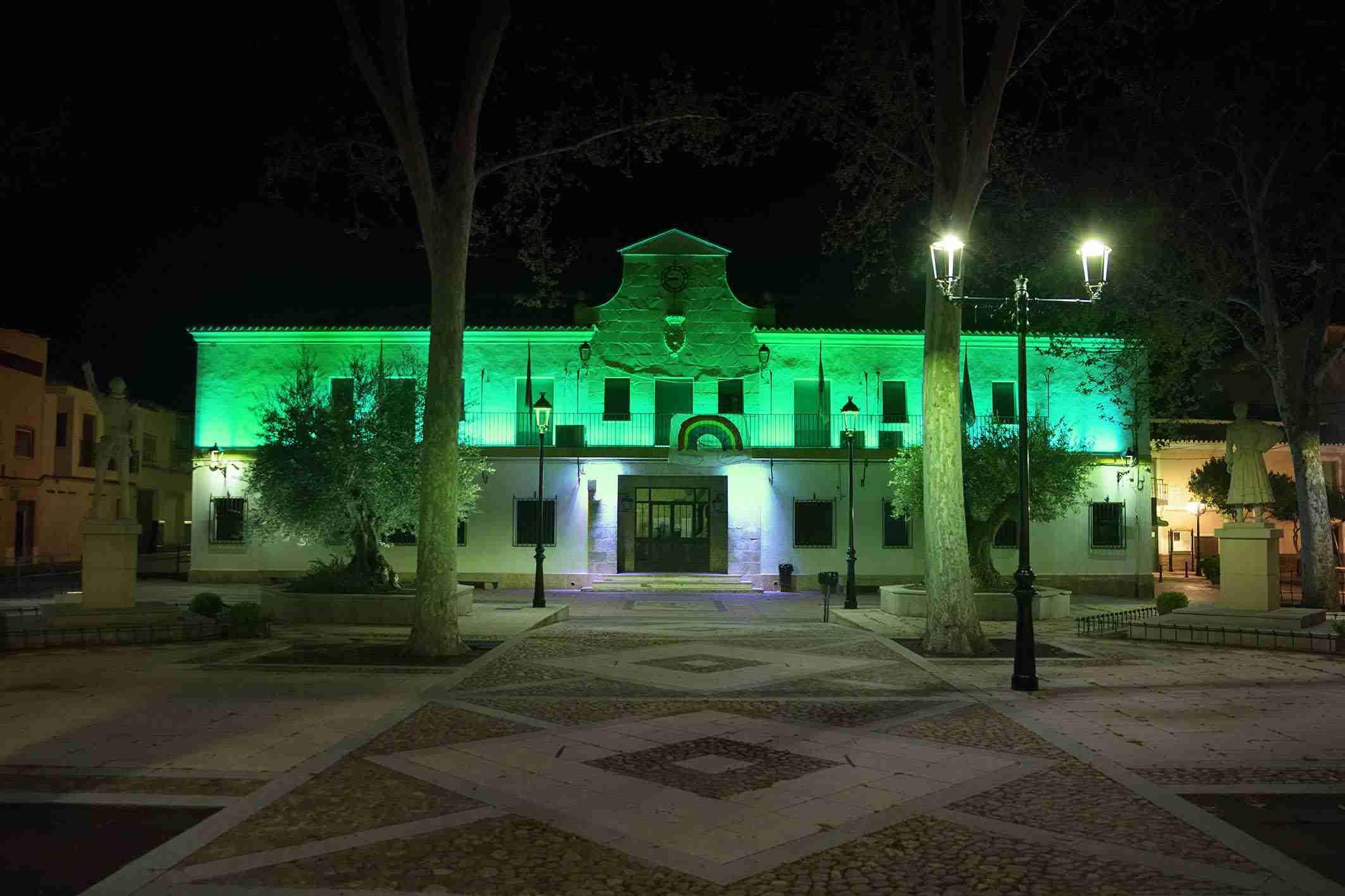 El Ayuntamiento de Argamasilla de Alba se ilumina de verde esperanza 3
