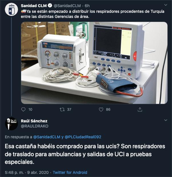 Sanidad Castilla-La Mancha muestra los respiradores para los hospitales 1