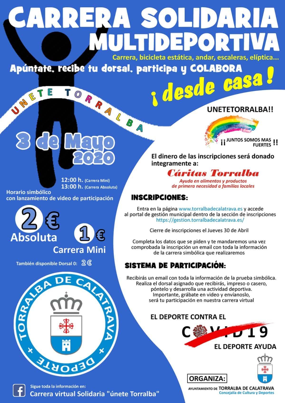 El Ayuntamiento de Torralba de Calatrava organiza la Carrera Solidaria Virtual 1
