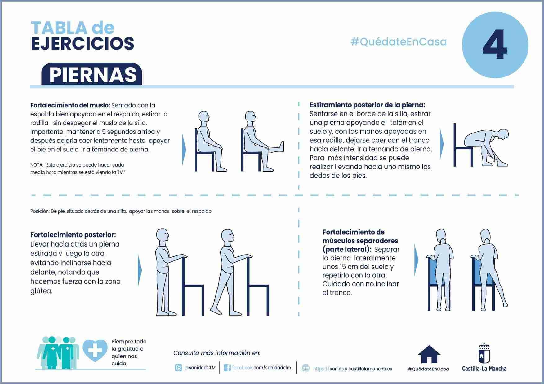 Ejercicios para mantenerse activo en casa durante el confinamiento. 14