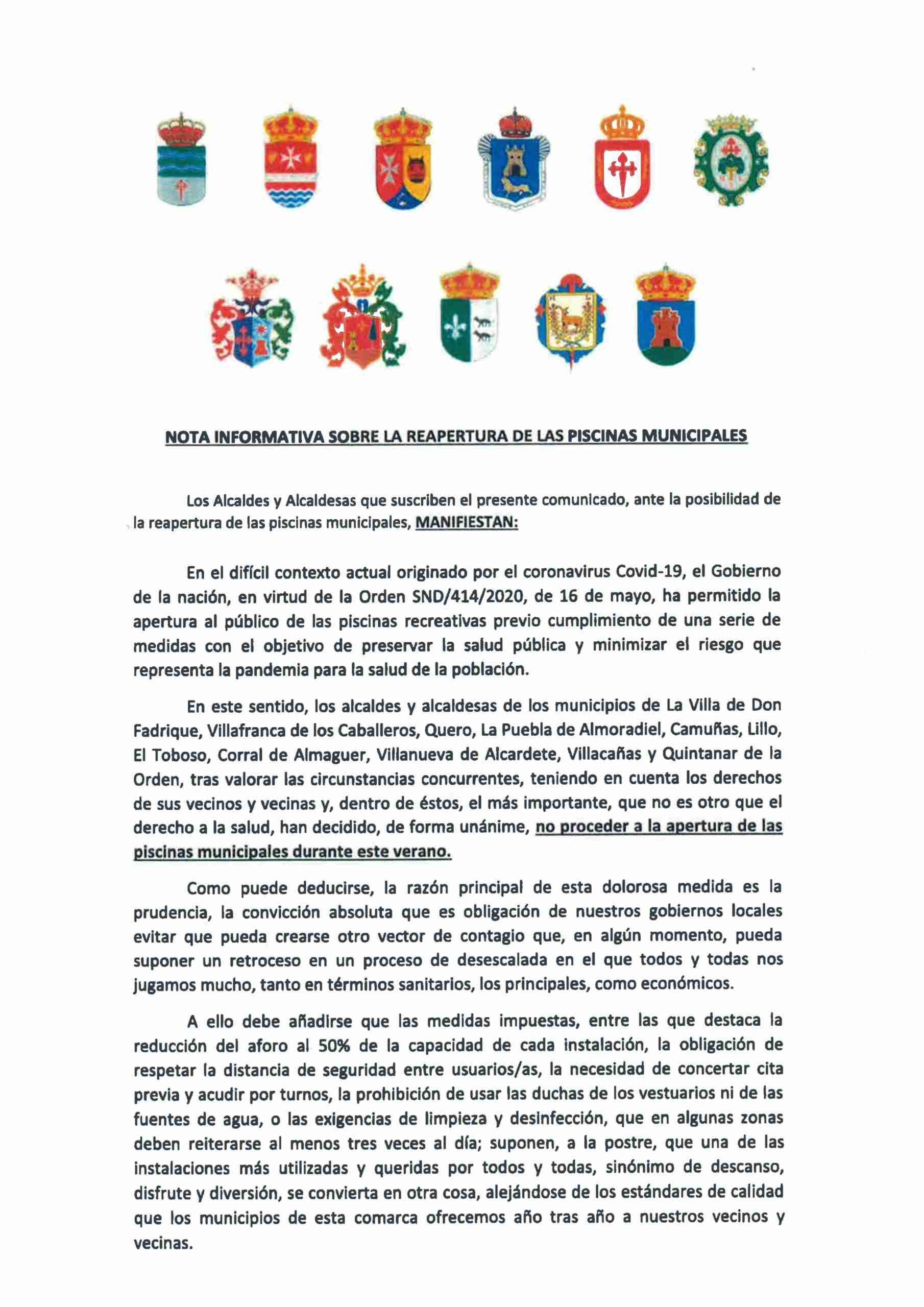 Quintanar de la Orden se suma al acuerdo de los Ayuntamientos de la comarca de no abrir las piscinas  municipales 5
