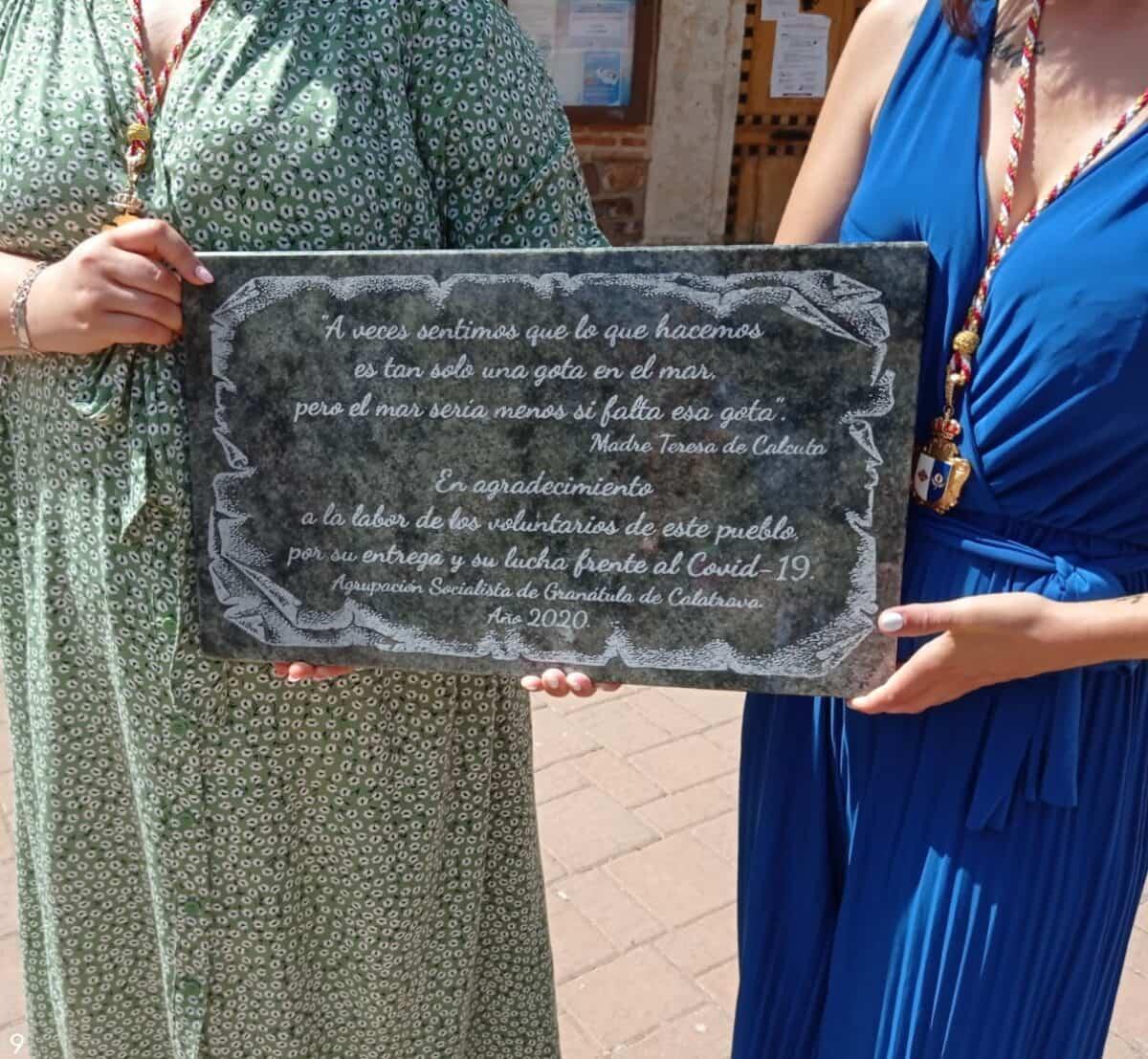 PSOE de Granátula de Calatrava preparó placa homenaje a trabajadores y voluntarios de la localidad que lucharon contra el COVID 2
