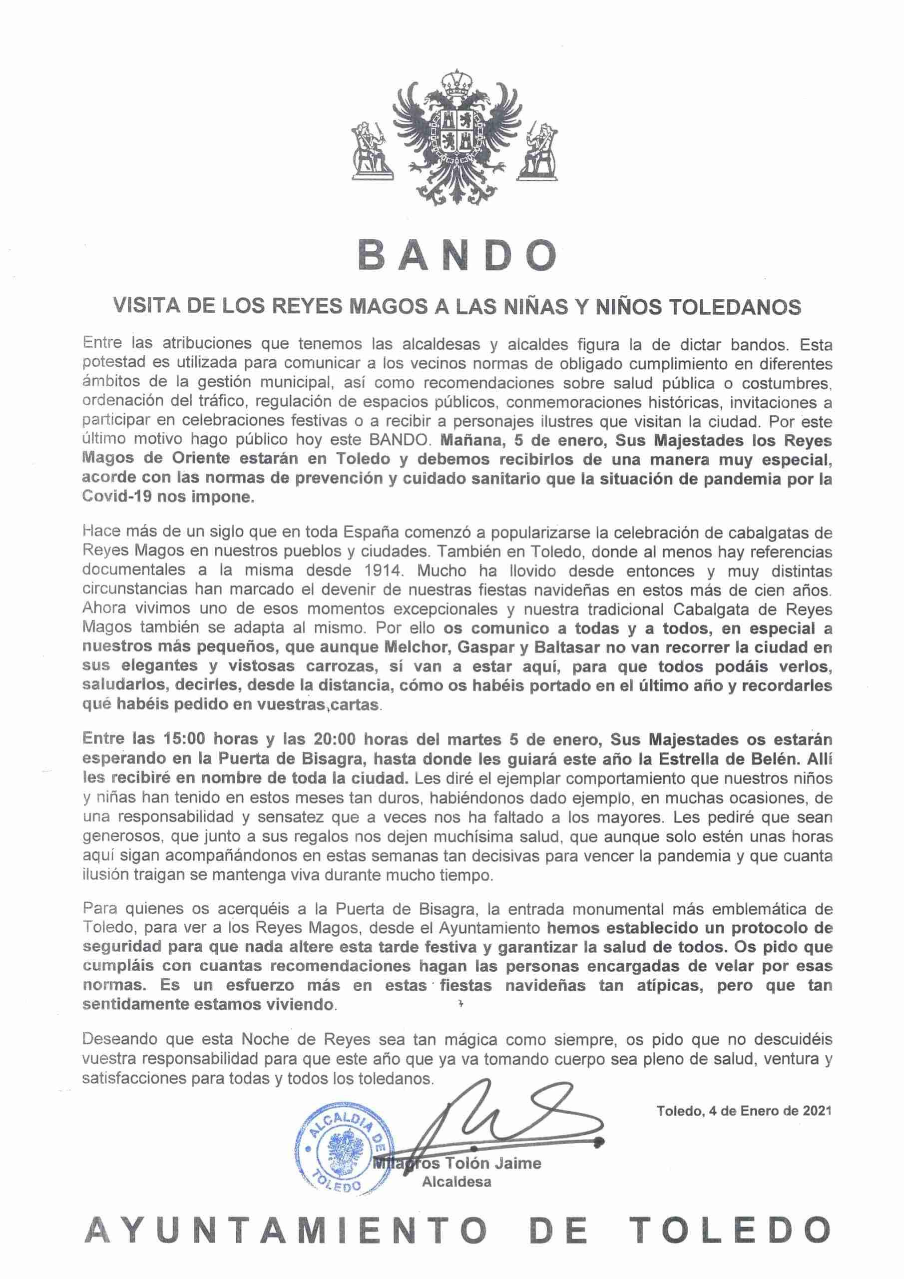 La alcaldesa de Toledo firma un Bando dirigido a los niños de Toledo con motivo de la visita de los Reyes Magos 3