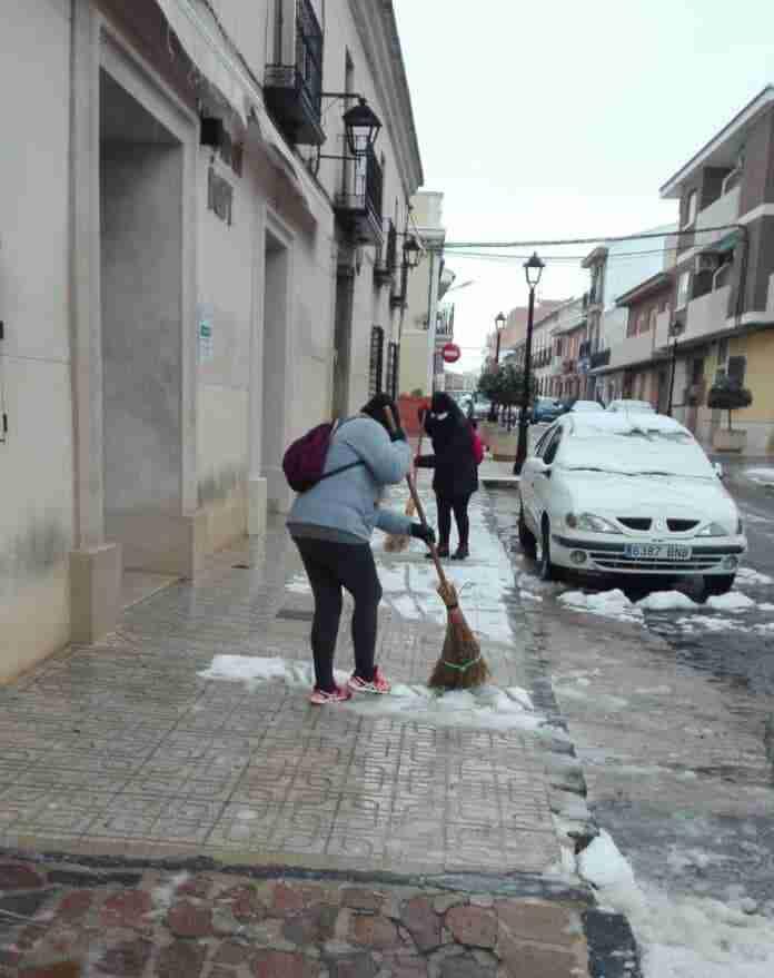 nieve y hielo en calzada de calatrava