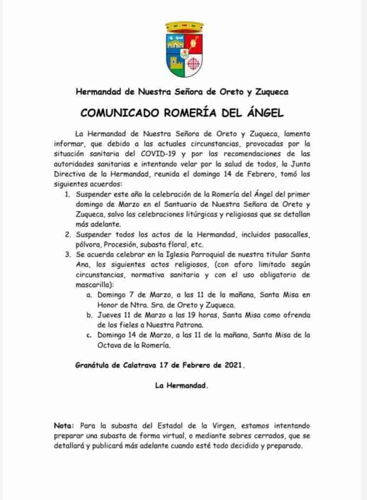 Se suspende la Romería en honor a la Virgen de Oreto y Zuqueda de Granátula de Calatrava, programada para el 7 de marzo 1