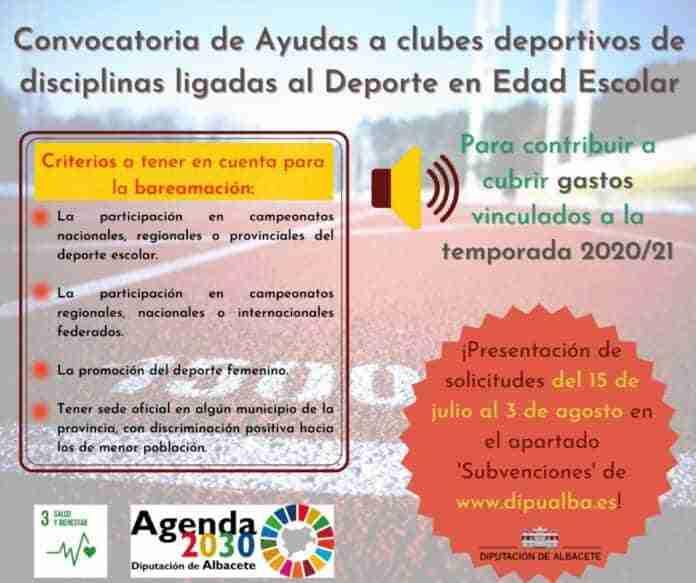 ayudas clubes deportivos disciplinas ligadas al deporteescolar albacete