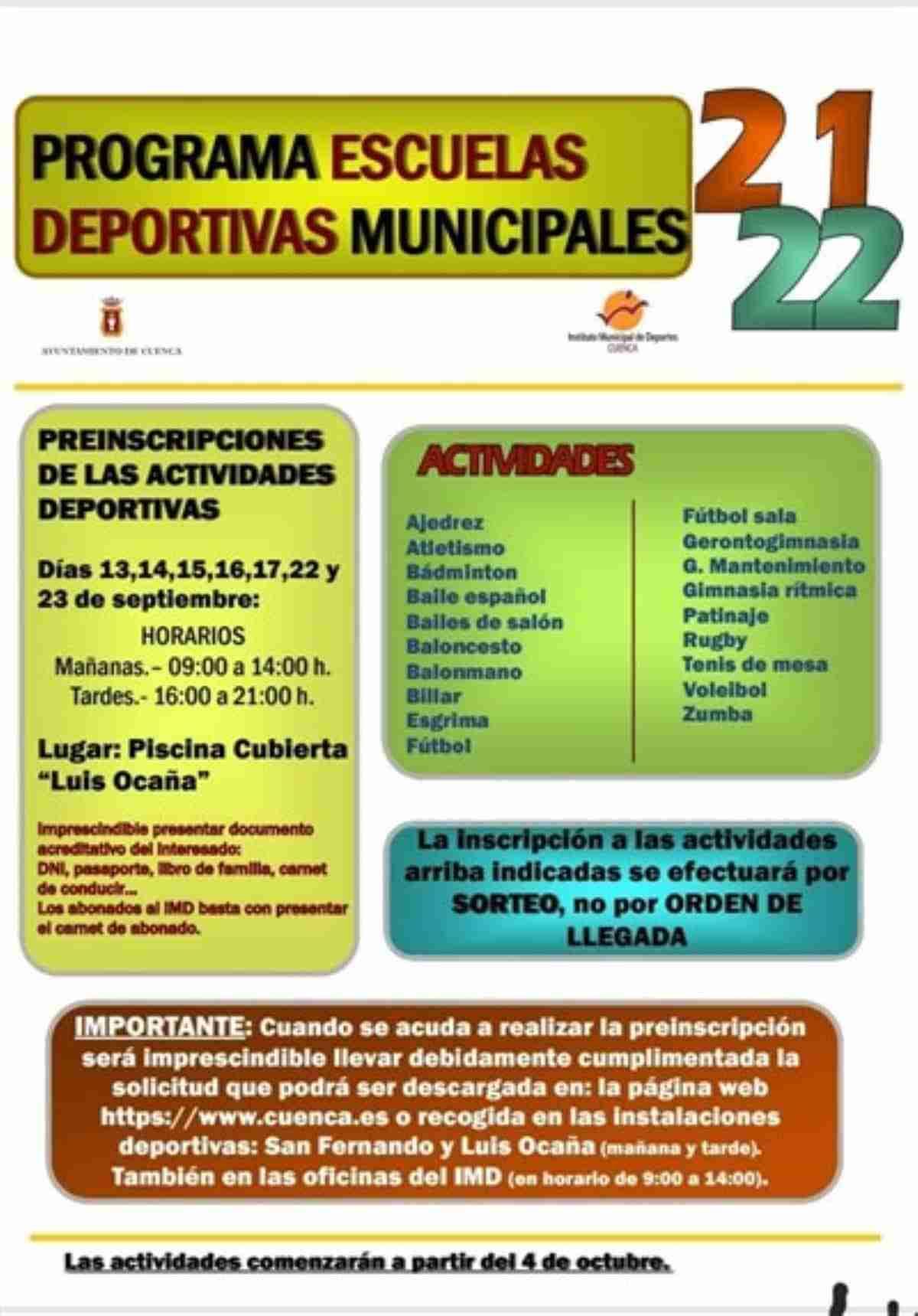 inscripcion escuelas deportivas municipales de cuenca
